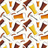 Beer and sausages pattern Royalty Free Stock Image