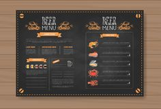 Beer And Sea Food Menu Design For Restaurant Cafe Pub Chalked On Wooden Textured Background Stock Image