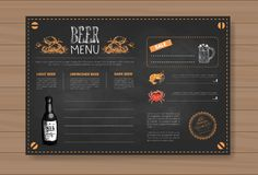 Beer And Sea Food Menu Design For Restaurant Cafe Pub Chalked On Wooden Textured Background Stock Photography