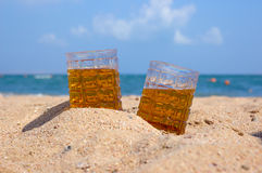Beer on seacoast. Cold beer and hot summer day Stock Photo