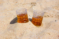Beer on seacoast. Cold beer and hot summer day Stock Image