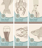 Beer and seafood. Set of banners with beer and seafood Royalty Free Stock Photography