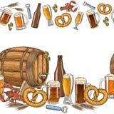 Beer seamless horizontal border Royalty Free Stock Images