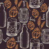 Beer seamless pattern background vector. Stock Images