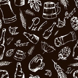 Beer seamless pattern on black backgroun. Vector texture in hand Royalty Free Stock Image