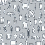 Beer seamless pattern with flat element Royalty Free Stock Photography