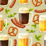 Beer seamless pattern Stock Photography