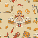 Beer seamless pattern. Linear style. Octoberfest Royalty Free Stock Images