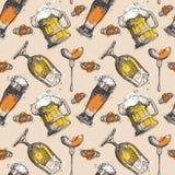 Beer Seamless Pattern Oktoberfest Festival Holiday Decoration Banner. Vector Illustration Royalty Free Stock Photos