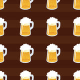 Beer seamless pattern. Repeating hand-drawing colorful glasses of beer. Vector. Pattern seamless  illustration. Concept background picture Stock Photo
