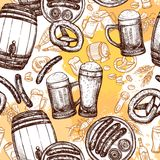 Beer Seamless Pattern Stock Photos