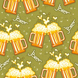 Beer seamless pattern.Vector glasses of beer backg Stock Photo