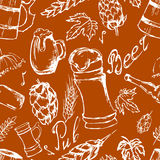 Beer seamless pattern. Vector texture in hand draw style Royalty Free Stock Photos