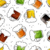 Beer seamless-12. Seamless pattern with hand drawn beer mugs on white background. Design element for fabric or gift wrap stock illustration