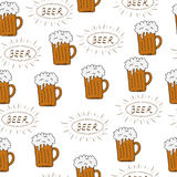 Beer seamless texture, beer background, beer wallpaper. Vector illustration Stock Images