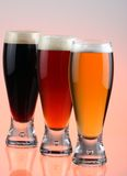 Beer selection. Close-up of beer glass stock photography