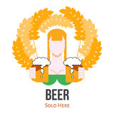 Beer Selling Label Sign, Flat Vector Logo with Girl Stock Photos