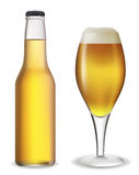 Beer set. Beer bottle and glass. Vector illustration. Contains mesh Royalty Free Stock Image