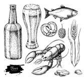 Beer  set. Alcohol beverage hand drawn illustration. Craft beer. Beer  set. Alcohol beverage hand drawn illustration. Beer glass, mug, wooden mug, bottle, barrel Stock Photo