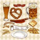 Beer Set with beer glasses, pretzel, sausages. Beer Set, Celebration design with beer glasses, pretzel and sausages and fried potatoes Stock Photography