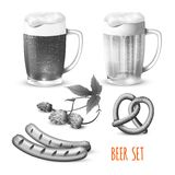 Beer set black and white Royalty Free Stock Images