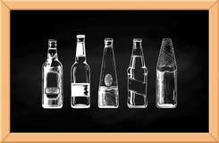 Beer set on blackboard. Royalty Free Stock Photos