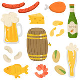 Beer. Set of beer bottle and beer snacks made in flat style. Set icons for your creative design. Light beer, mugs, bottles, beer keg, sausages, snack, shrimp Stock Image