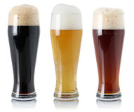 Beer set in glass with foam Stock Photo