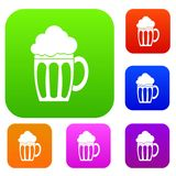 Beer set collection. Beer set icon in different colors isolated vector illustration. Premium collection Royalty Free Stock Image