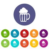 Beer set icons. In different colors isolated on white background Stock Images