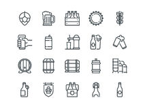 Beer. Set of outline vector icons. Includes such as Bottle, Barrel, Cup, Can and other. Editable Stroke. 48x48 Pixel. Perfect Royalty Free Stock Photography