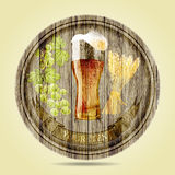 Beer set on round wooden banner.vector illustration Royalty Free Stock Images