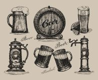 Beer set. Sketch elements for oktoberfest festival Stock Photos