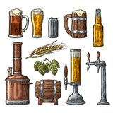 Beer set with tap, class, can, bottle and tanks from brewery factory. Royalty Free Stock Photo