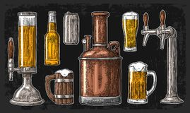 Beer set with tap, class, can, bottle and tanks from brewery factory. Stock Photos