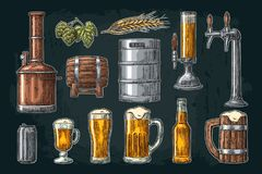Beer set with tap, class, can, bottle and tanks from brewery factory. Beer set with tap, glass, can, bottle, hop branch with leaf, ear of barley, wooden barrel royalty free illustration