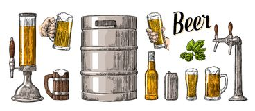 Beer set with two hands holding glasses mug and tap, can, keg, bottle. Stock Image