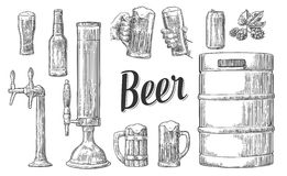 Beer set with two hands holding glasses mug and tap, can, keg, bottle. Royalty Free Stock Photo