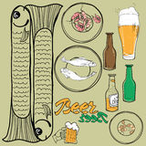 Beer Set. Vector set of elements on a beer theme Royalty Free Stock Photography