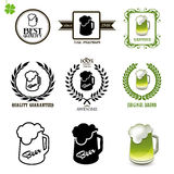 Beer set of vintage labels, icons and logos with glasses of beer Royalty Free Stock Image
