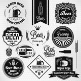 Beer set vintage lager labels vector illustration