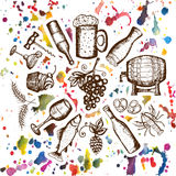 Beer set, wine set, beer and wine symbols on watercolor stains Royalty Free Stock Images