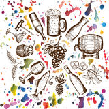Beer set, wine set, beer and wine symbols on watercolor stains Stock Photos