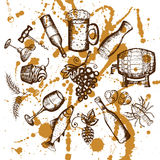 Beer set, wine set, beer and wine symbols on yellow stains Royalty Free Stock Photos