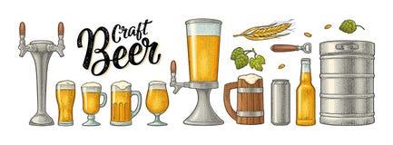 Beer set with wood mug, tap, glass, hop, bottle. Engraving stock illustration