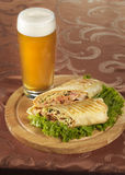 Beer and shawarma Stock Photo