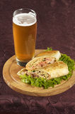 Beer and shawarma Stock Image