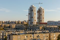BEER-SHEBA, ISRAEL - JAN 19, 2019: Two white tower. Building under construction stock photo
