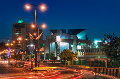 Beer-Sheva, the city center at night. In the background, the new building of the concert hall. Night shooting with a tripod Royalty Free Stock Photography