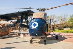 Vintage sikorsky s-55 helicopter displayed at the Israeli Air Force Museum royalty free stock image